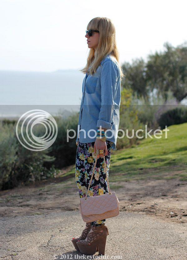 chambray faded pocket top, floral pants, Michael Antonio Gallista heels, southern California fashion blog