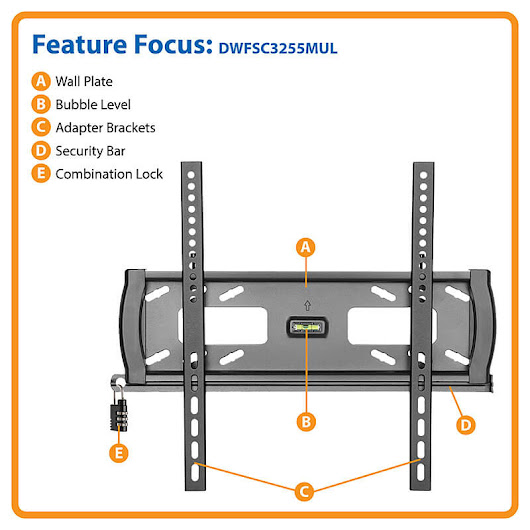 "Heavy Duty Security TV Wall Mount 32-55"", Fixed, Televisions & Monitors 