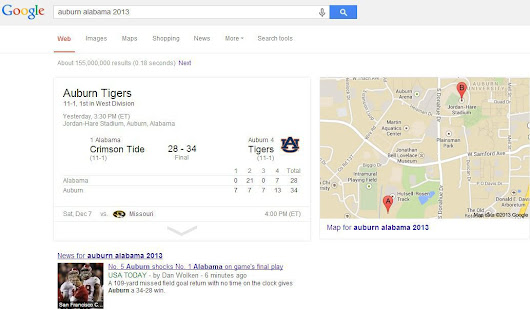 Comparing 'Auburn Alabama 2013' Search Results for YouTube and Google | Foster Web Marketing