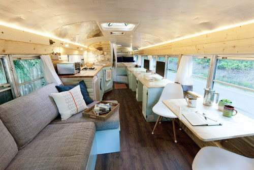 Adventurous Couple's DIY School Bus Motorhome