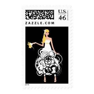 Funky Bride postage stamps stamp