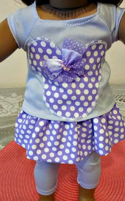 Purple Mouse 3 Piece doll OUTFIT by babymarbles on Etsy
