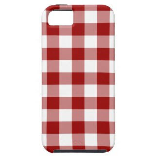 Red and White Gingham Pattern iPhone 5 Cases