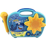 Baby Shark Sing Along Boombox with Microphone Built in Music Flashing Lights Real Working Mic Connects to MP3 Player Storage Compartment in Back...