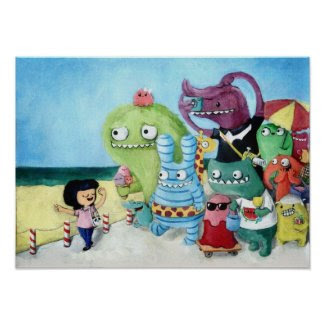 Monsters on Holiday print
