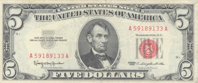 Abraham Lincoln Five Dollar Bill