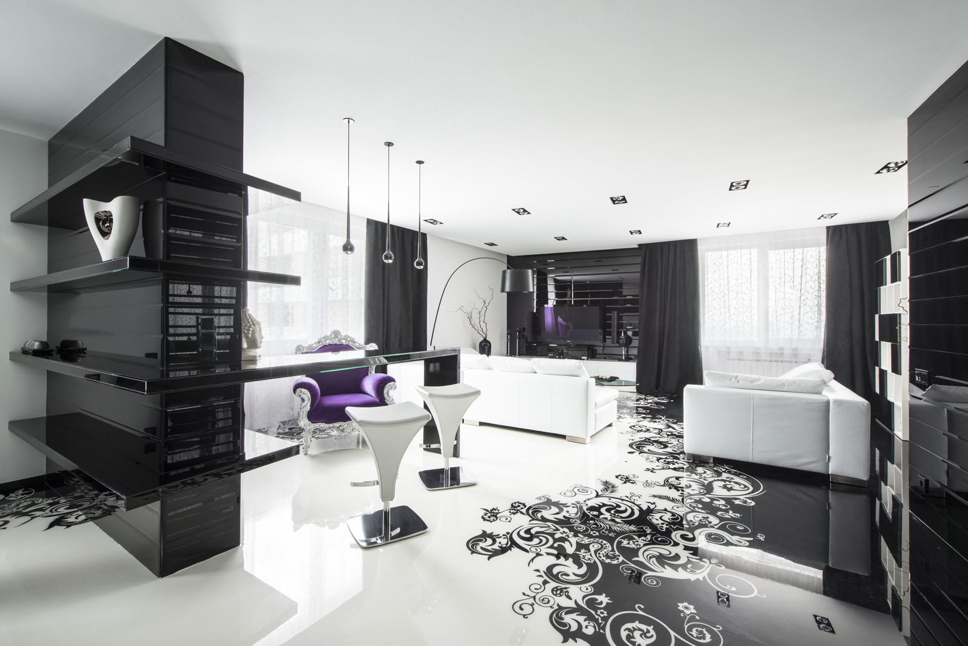home decorating ideas black and white