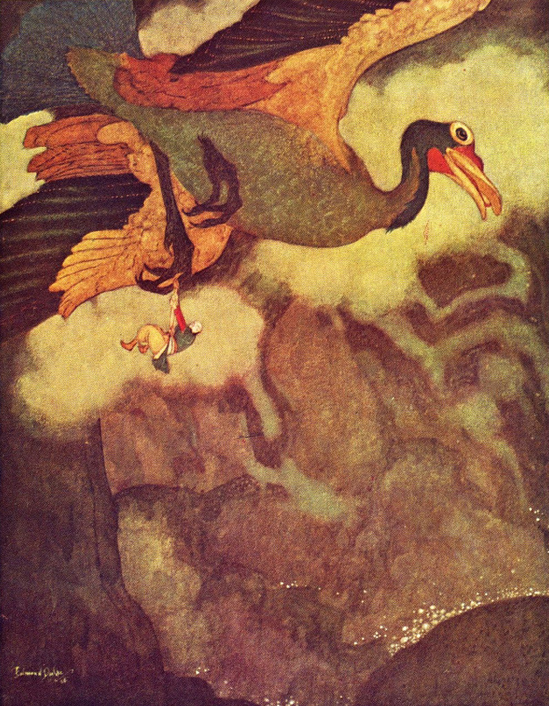 Edmund Dulac - 'The Episode of the Rokh'  from Sindbad the Sailor and other Stories from The Arabian Nights (1914)
