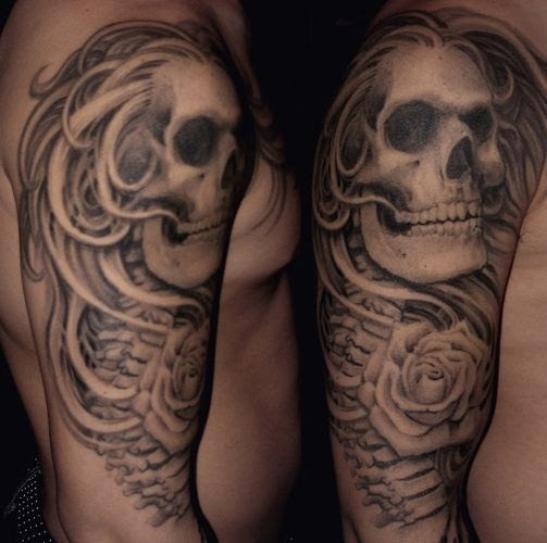 Skull And Rose Half Sleeve By Paul Booth Design Of Tattoosdesign