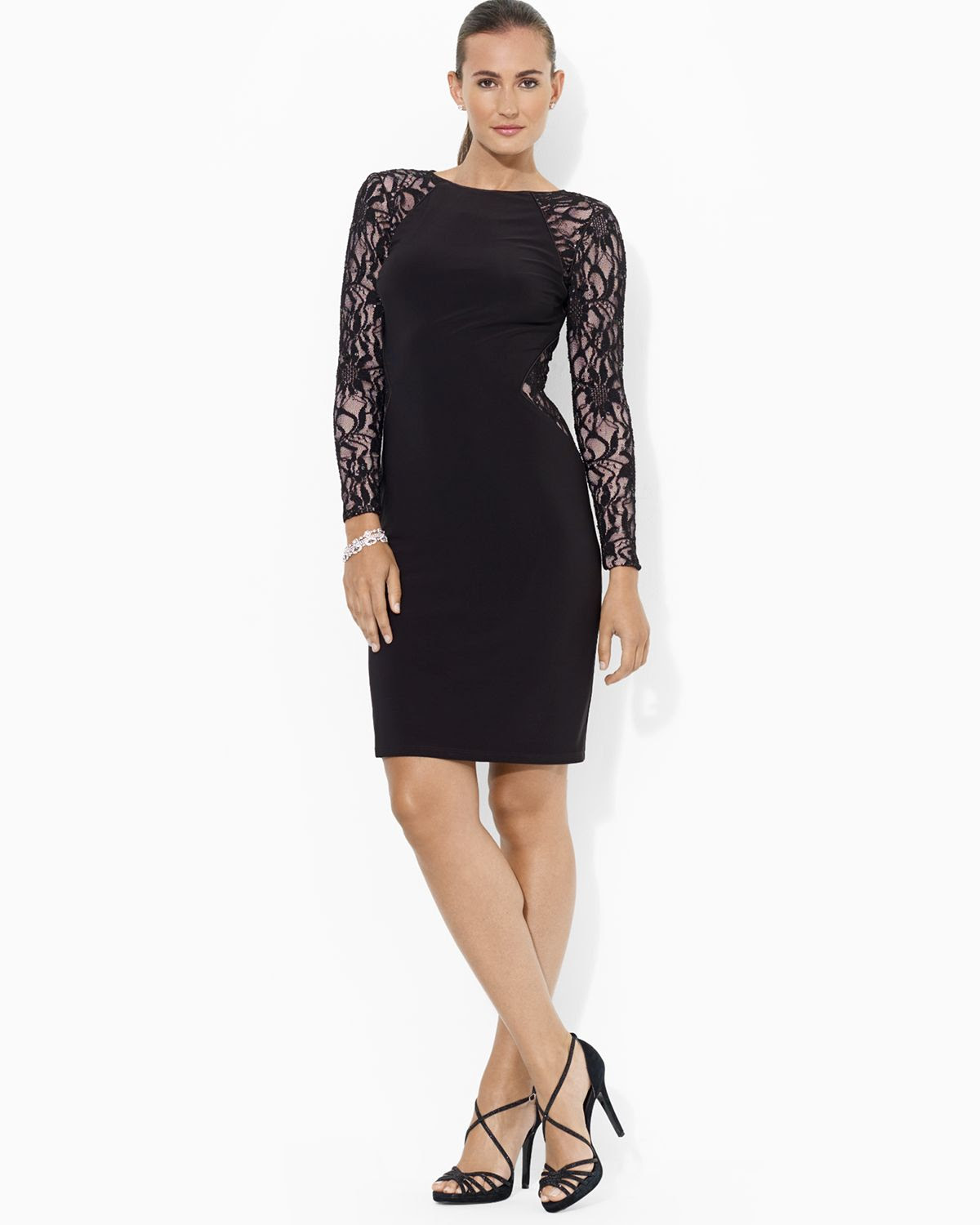 ralph lauren black lauren dress stretch sequin lace and matte jersey product 1 16347884 1 678879775 normal