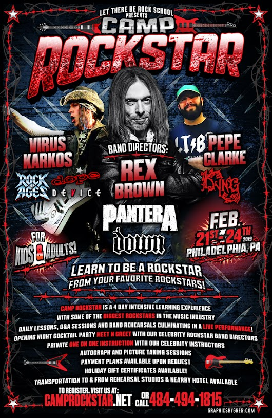 Camp Rock Star Announces February 2019 Program Featuring Pantera's Rex Brown + Kyng's Pepe Clarke