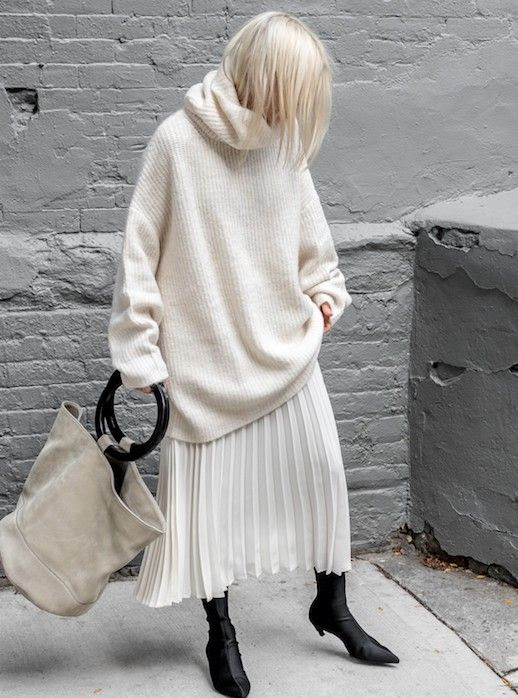 Le Fashion Blog Winter White Black Sunglasses Oversized Cream Turtleneck Sweater White Pleated Midi Skirt Tote Bag Balenciaga Knife Boots Via Figtny
