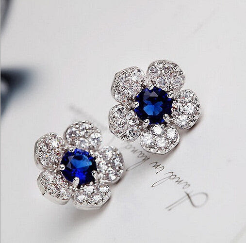 Blue Crystal Flower Stud