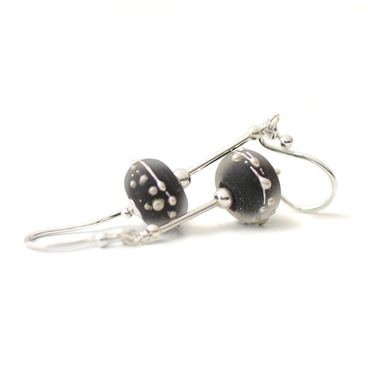 Black Glass Earrings | Handmade Lampwork Earrings UK