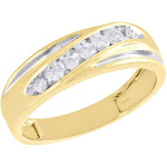 10K Yellow Gold Real Diamond 7 Stone Channel Set Wedding Band 6.5mm Ring 1/4 CT.