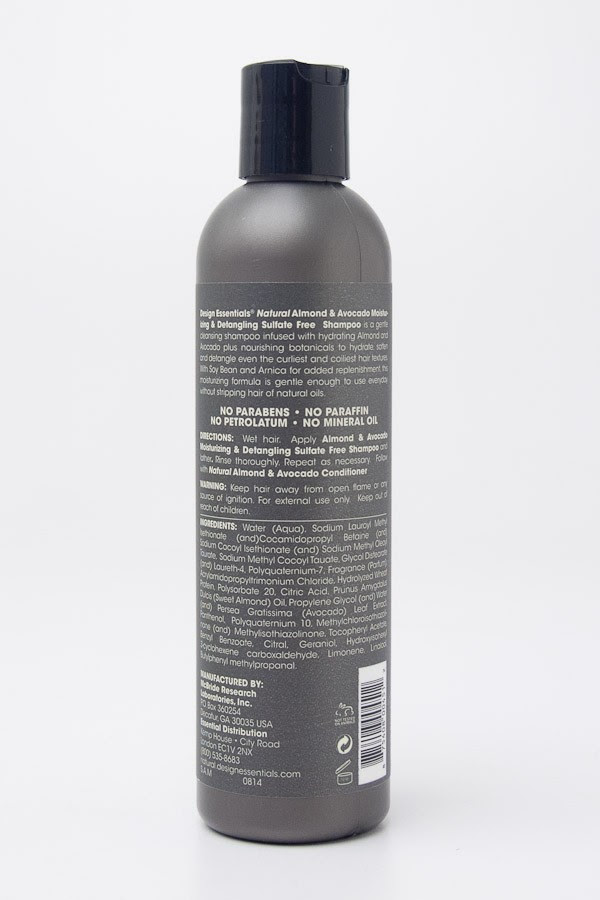 Design Essentials Natural Almond Avocado Moisturizing Detangling Sulfate Free Shampoo 8 Oz