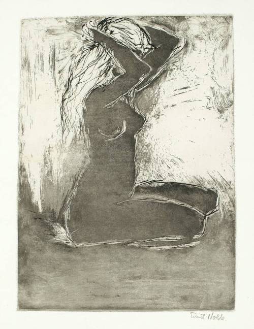 amare-habeo:  Emil Nolde (1867 – 1956) - Seated Girl, 1907 drypoint with tonal etching on paper
