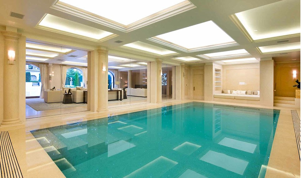 Great lengths: The heated indoor swimming pool is set in Portland stone and has its own private gym, changing rooms, sauna and beauty-treatment rooms