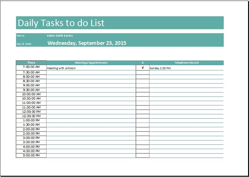 Daily Task List Word Template