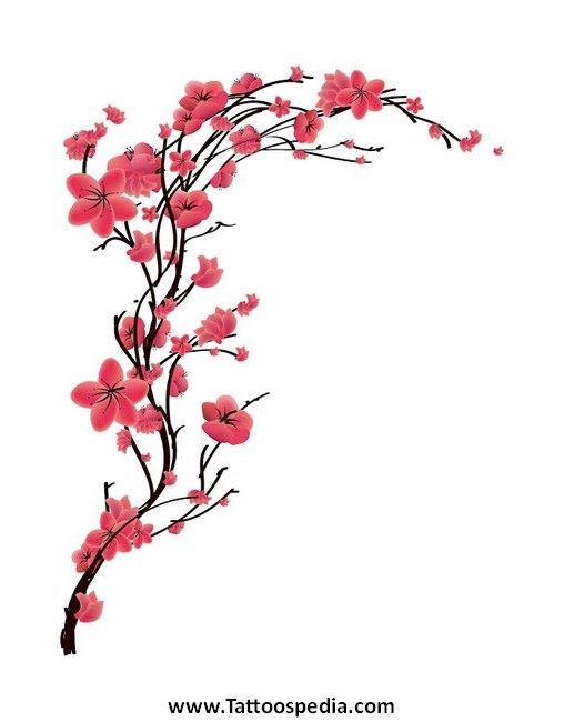 Red Cherry Blossom Tattoo Design