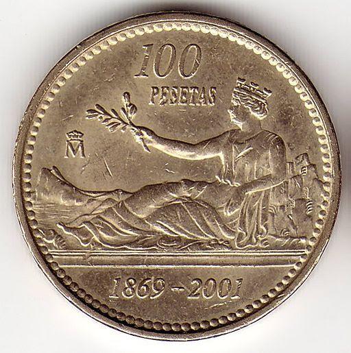 100 pesetas hispania -reverse-