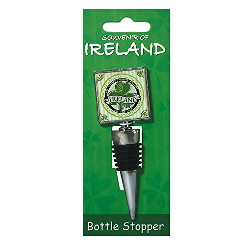 Green Shamrock Ireland Banner Design Wine Bottle Stopper