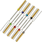 Evelots Marshmallow/Hot Dog Stick-Smore-Extend 32 Inches-Stainless-No Rust-Set/8