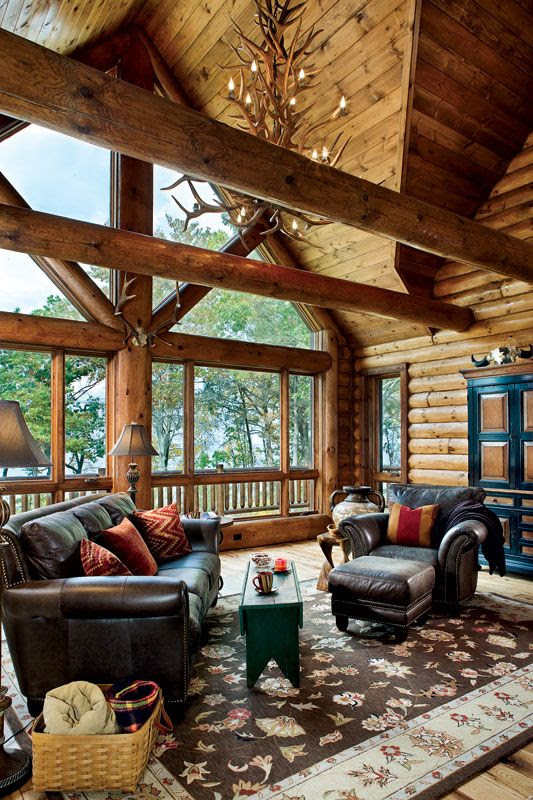 Wisconsin log cabin with lakeside views