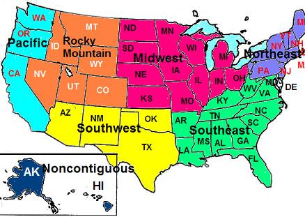7 Regions Of The United States Map.Us Map 7 Regions