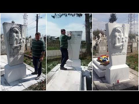 """VIDEO Dorel a vandalizat monumentul funerar al maestrului Ion Irimescu. Sculptura marelui artist, """"ajustată"""" cu polizorul și vopsită cu var lavabil"""