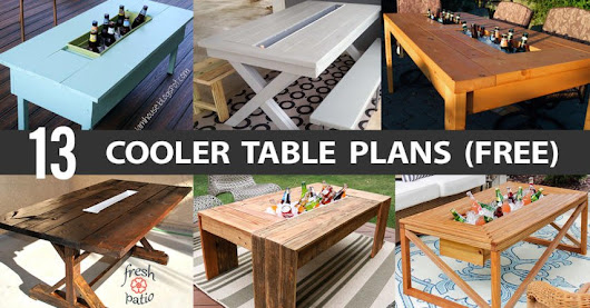 13 DIY Cooler Table Plans to Build for Outdoor Beer, Drinks or Patio Picnic (Free)