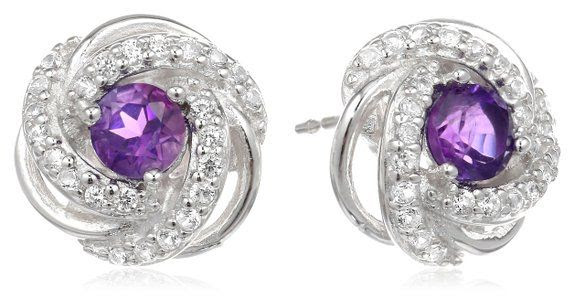 Sterling Silver Genuine African Amethyst and Created White Sapphire Knot Stud Earrings