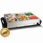 MegaChef MC-9003C Buffet Server & Food Warmer with 4 Removable Sectional Trays Heated Warming Tray & Removable Tray Frame