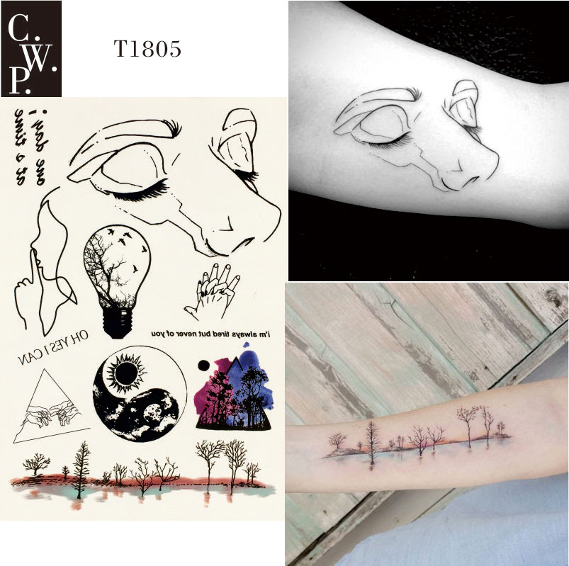 T1805 1 Piece Nature Line Temporary Tattoo With Line Face Woods