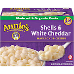 Annies Macaroni & Cheese, Shells & White Cheddar - 12 pack, 6 oz cartons