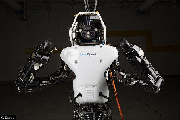 The California giant's patent says that the robot personality could replicate the robot's owner, 'a deceased loved one,' or 'a celebrity.' Above it Atlas, which according to Google-owned Boston Dynamics, is a 'high mobility, humanoid robot designed to negotiate outdoor, rough terrain.