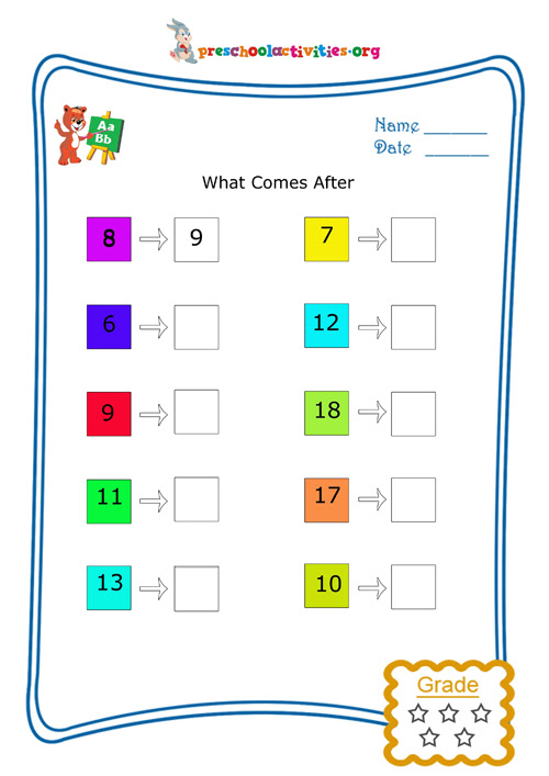 What comes after (Numbers) - Free worksheet download | Preschool activities