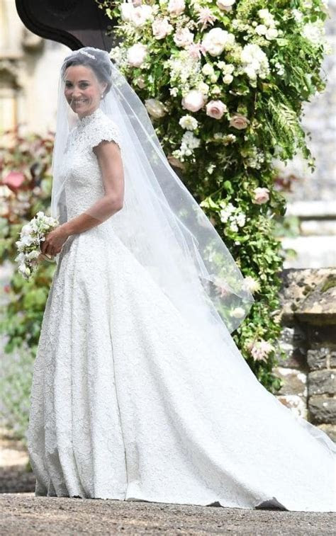 Classically beautiful: Pippa Middleton wears a lace dress
