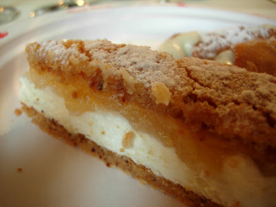 torta di ricotta and pears