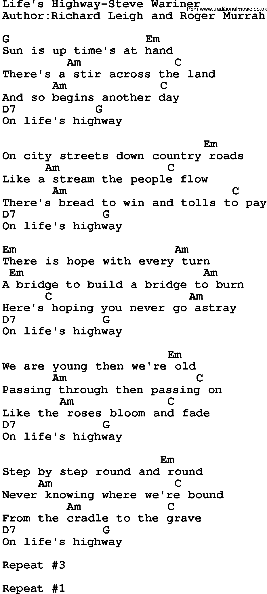 Country Musiclifes Highway Steve Wariner Lyrics And Chords