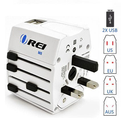 OREI M8 | Travel Adapter Plug for the World with Dual USB | Orei Travel