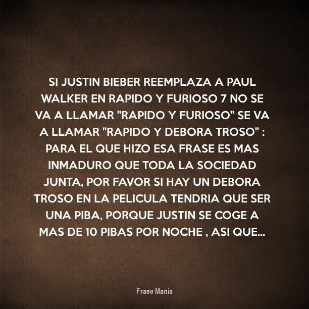 Cartel Para Si Justin Bieber Reemplaza A Paul Walker En Rapido Y