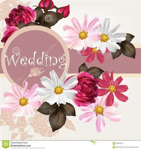 Wedding Invitation Card With Flowers Stock Vector