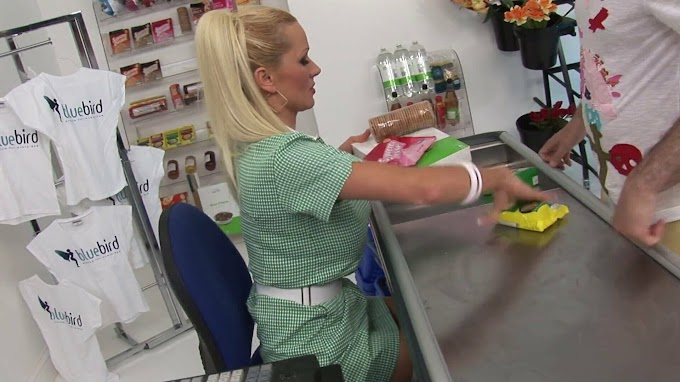 Busty Blonde Cashiers Have Hardcore Threesome with a Guy | xHamster