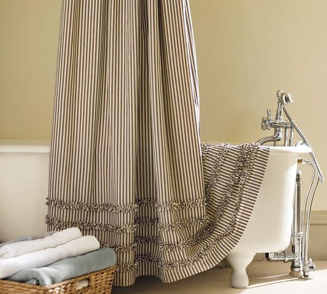 Ticking Stripe Ruffled Shower Curtain - traditional - shower