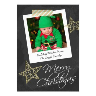 Chalkboard Photo Frame And Tape Christmas Personalized Invitation