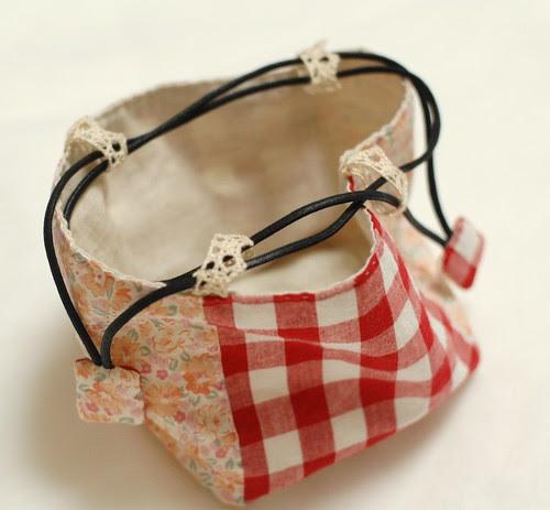 Patchwork cube drawstring bag