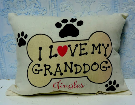 Personalized I LOVE MY GRANDDOG Handmade Gift Pillow