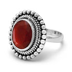 Dyed Red Corundum Ring with Rope and Bead Design Sterling Silver