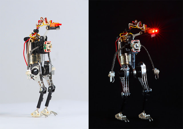 Miniature Toy Robots Made from Recycled Electronic Components toys robots recyling